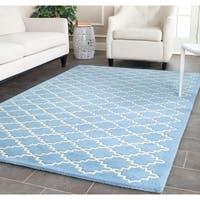 Safavieh Handmade Moroccan Chatham Blue Grey Wool Rug - 5' x 8'