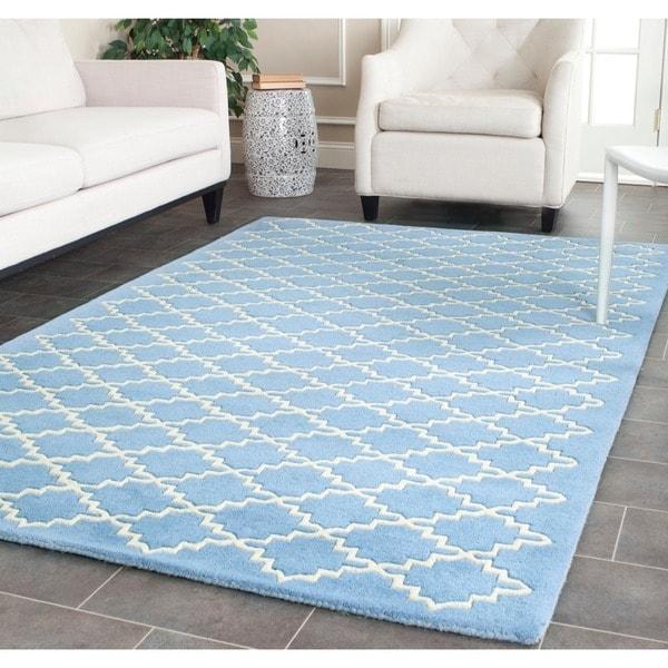 Safavieh Handmade Moroccan Chatham Blue Grey Wool Rug (5' x 8')
