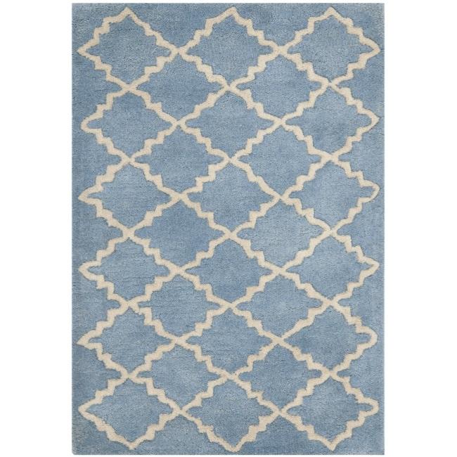 Safavieh Handmade Moroccan Chatham Blue Grey Wool Rug (2' x 3')