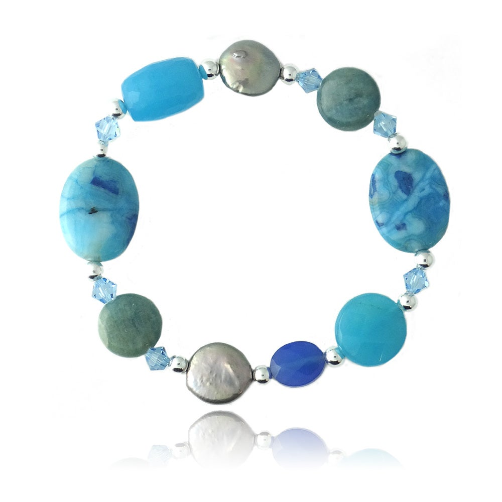 Glitzy Rocks Sterling Silver Multi-gemstone Stretch bracelet