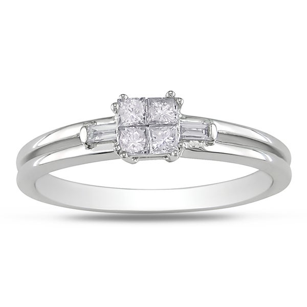 Miadora 14k White Gold 1/4ct TDW Princess Diamond Ring