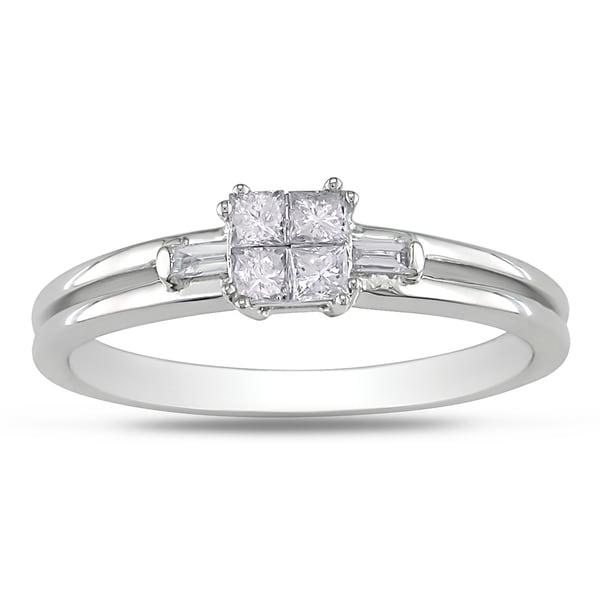 Miadora 14k White Gold 1/4ct TDW Princess Diamond Ring (G-H, I1-2)