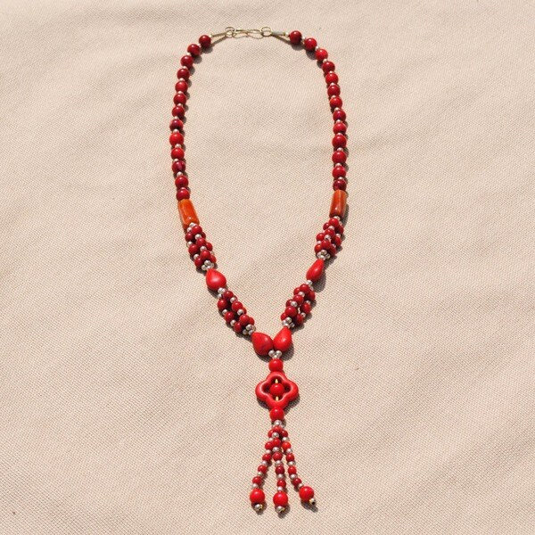 Handcrafted Tribal Garnet Beaded Necklace (Afghanistan)