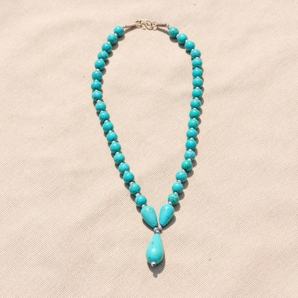 Handcrafted Tribal Teal Beaded Teardrop Necklace (Afghanistan)