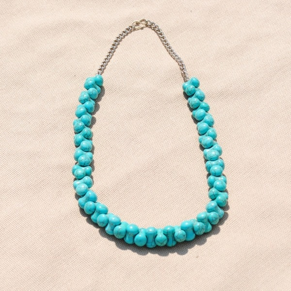 Handmade Tribal Teal Beaded Necklace (Afghanistan)