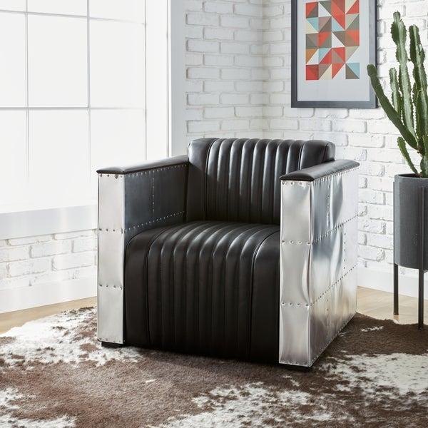 Oliver & James Vindicator Modern Black Leather Chair