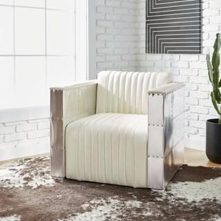 Oliver & James Vindicator Modern White Leather Chair