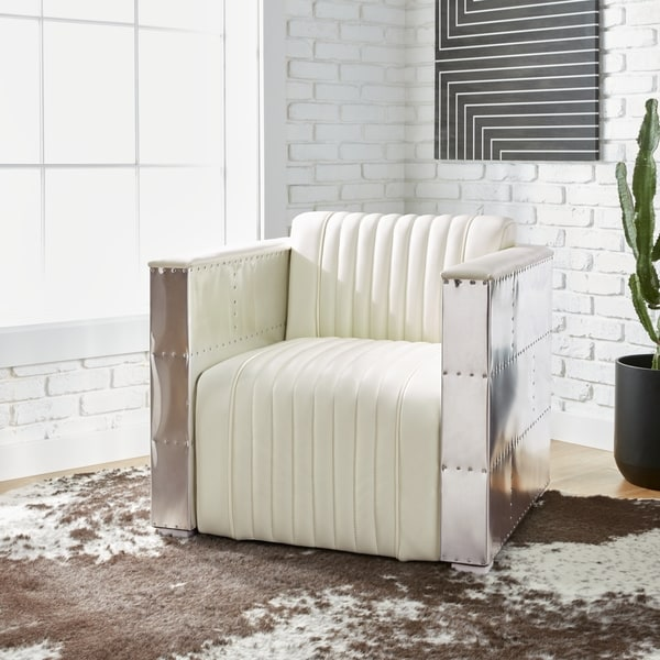 Vindicator\' Modern White Leather Chair - Free Shipping Today ...