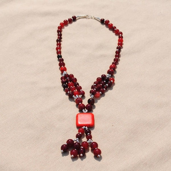 Handcrafted Tribal S-hook Red Beaded Necklace (Afghanistan)