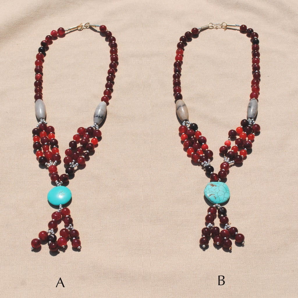 Handcrafted Tribal Red/ Teal Necklace (Afghanistan)