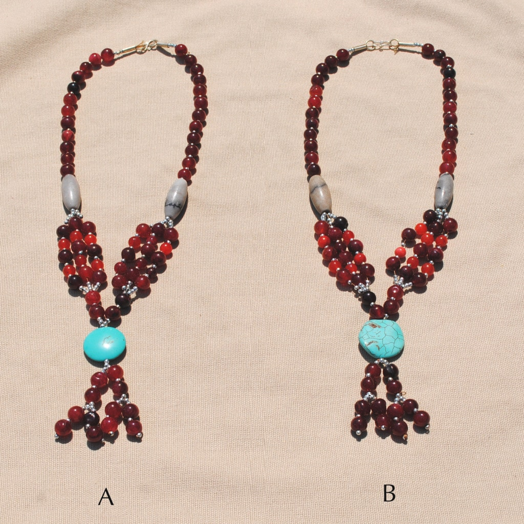 Handmade Tribal Red/ Teal Necklace (Afghanistan)