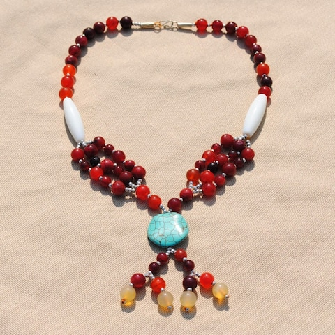 Handmade One-of-a-Kind Tribal Red/ White Necklace (Afghanistan)mm wide. inches long