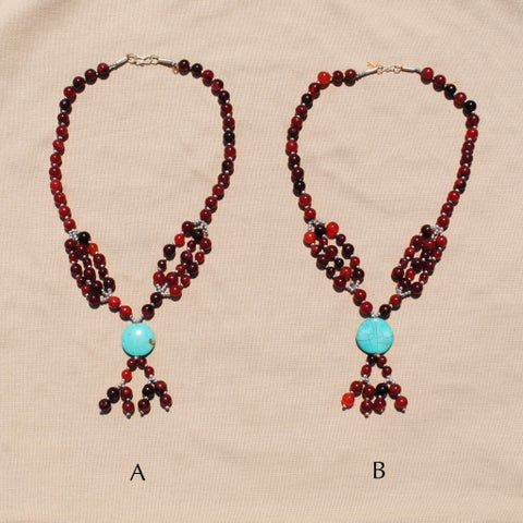 Handmade Tribal Red/ Grey Beaded Necklace (Afghanistan)