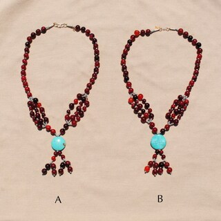 Handmade Tribal Red/ Grey Beaded Necklace (Afghanistan) (2 options available)