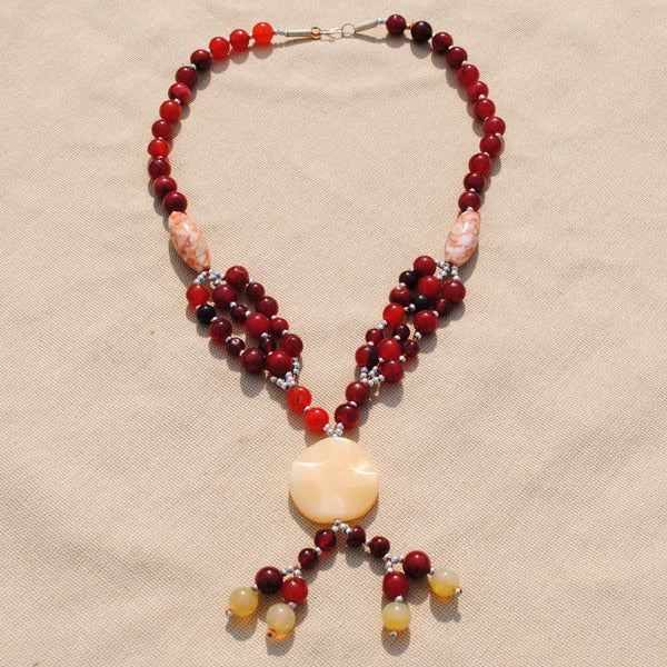 Handcrafted Tribal Red/ Gold Beaded Necklace (Afghanistan)