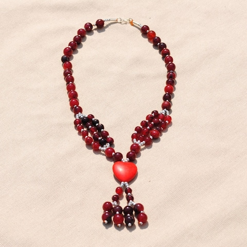 Handmade Tribal Red Beaded Heart Necklace (Afghanistan)