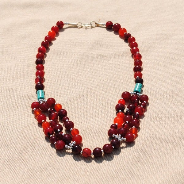 Handcrafted Tribal Red Beaded Necklace (Afghanistan)