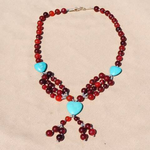 Handmade Tribal Red/ Teal Heart Beaded Necklace (Afghanistan)