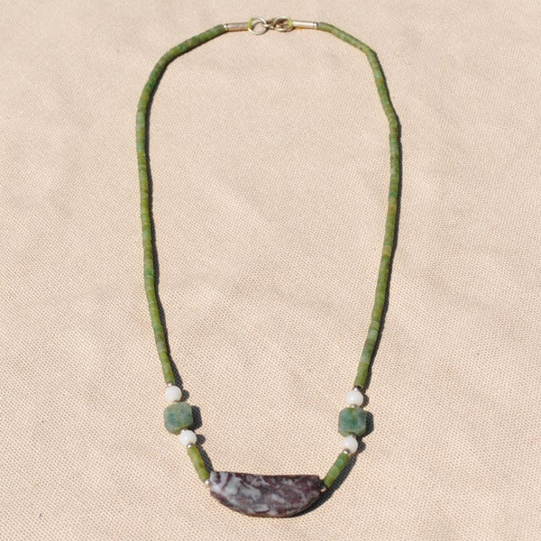Handcrafted Tribal Green Beaded Necklace (Afghanistan)