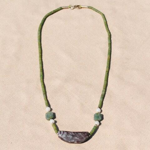 Handmade Tribal Green Beaded Necklace (Afghanistan)