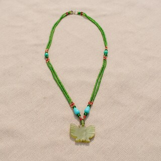 Handmade Tribal Green Beaded Eagle Necklace (Afghanistan)