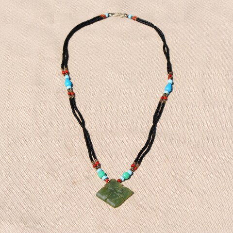 Handmade Tribal Beaded Diamond Pendant Necklace (Afghanistan)