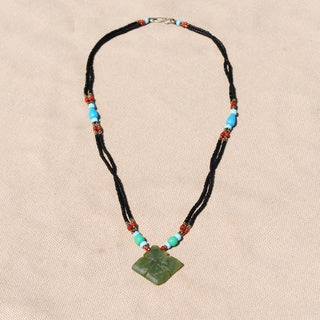 Handcrafted Tribal Beaded Diamond Pendant Necklace (Afghanistan)