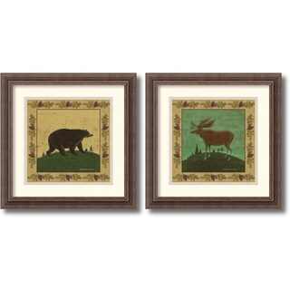 Warren Kimble 'Folk Bear and Moose' 17 x 17-inch Framed Art Print (Set of 2)
