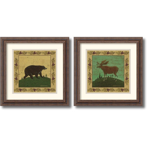 Warren Kimble 'Folk Bear and Moose' 17 x 17-inch Framed Art Print (Set of 2)