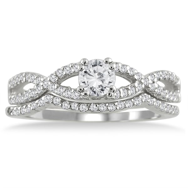 Marquee Jewels 10k White Gold 5/8ct TDW White Diamond Bridal Ring Set (I-J, I1-I2)