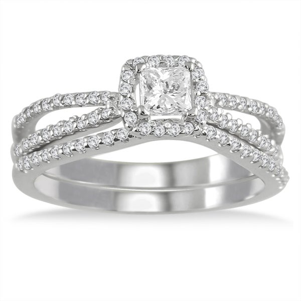10k White Gold 5/8ct TDW White Diamond Prong-set Bridal Ring Set (I-J, I1-I2)