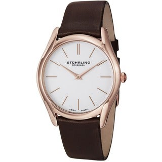 Stuhrling Original Men's Ascot Classic Watch with Brown Ultra Soft Leather Strap