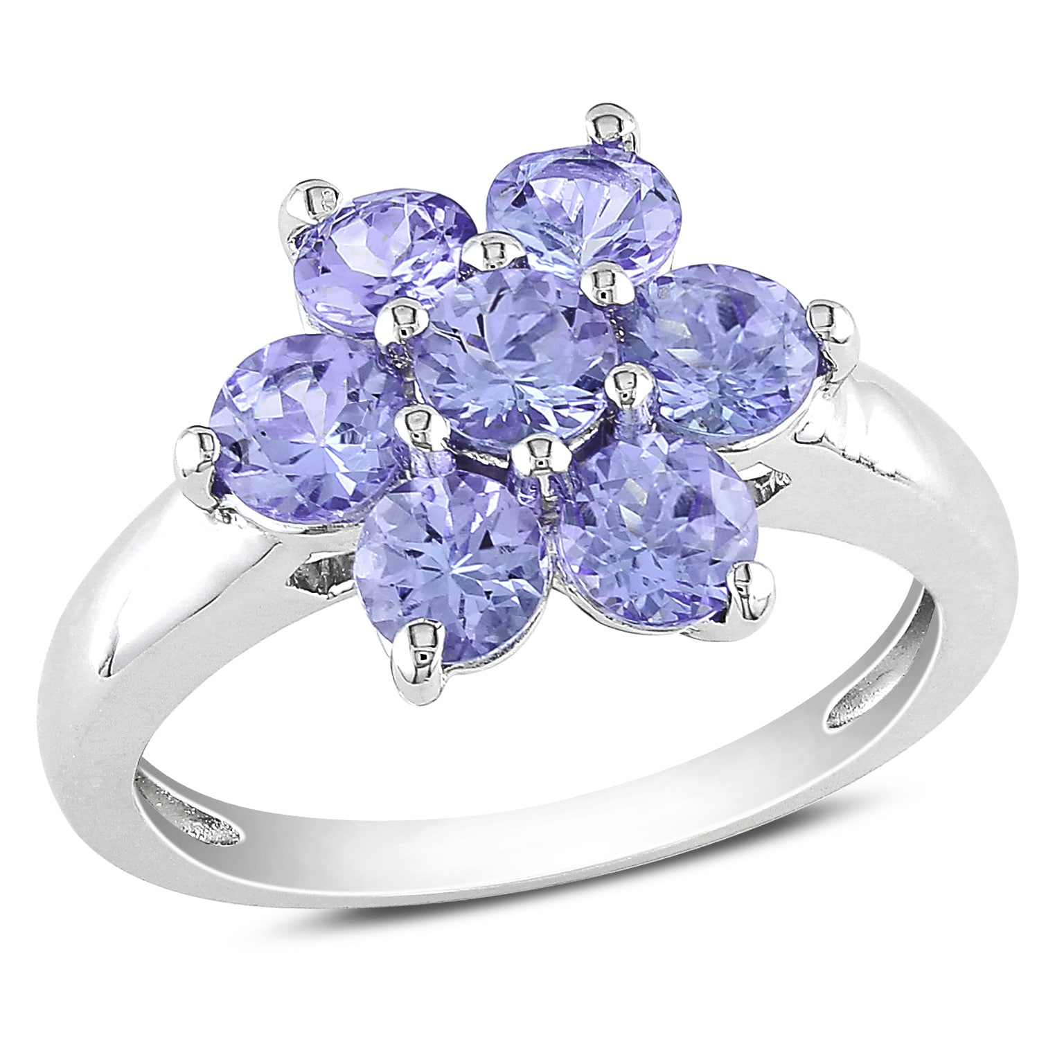 Miadora Sterling Silver Round Tanzanite Flower Ring  Free Shipping Today   Overstock  14645674