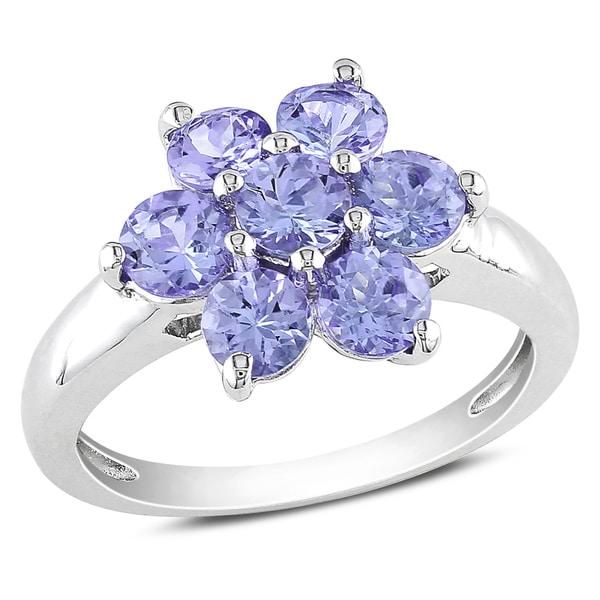 Miadora Sterling Silver Round Tanzanite Flower Ring