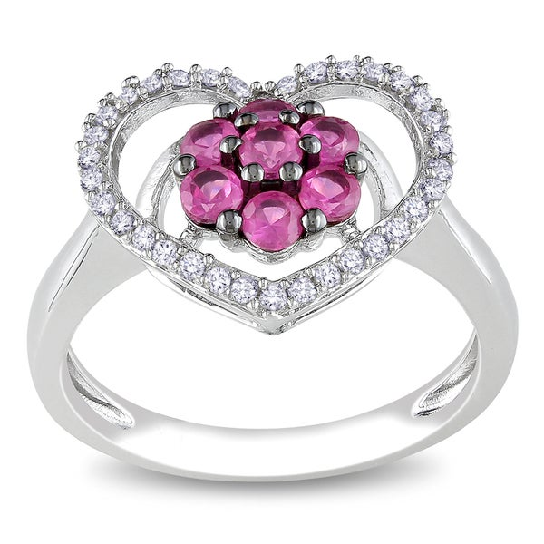 Miadora Sterling Silver Pink Sapphire and 1/6ct TDW Diamond Heart Ring (H-I, I3)
