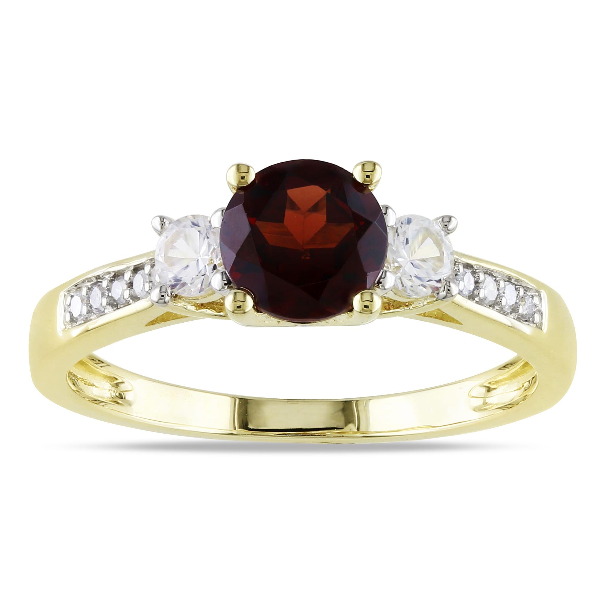 Miadora 10k Yellow Gold Garnet, White Sapphire & Diamond Ring (H-I, I2-I3)