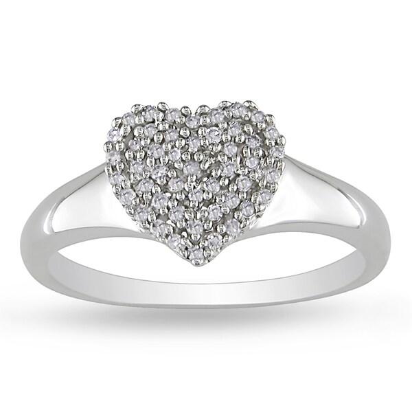 Miadora 10k White Gold 1/6ct TDW Diamond Heart Ring