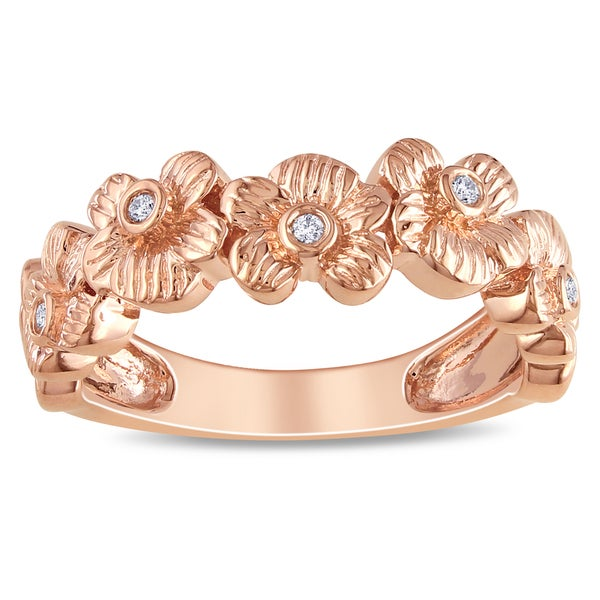 M by Miadora Pink-plated Silver Diamond Flower Ring (H-I, I3)