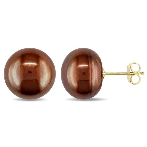 Miadora 10k Yellow Gold Brown Cultured Freshwater Pearl Earrings