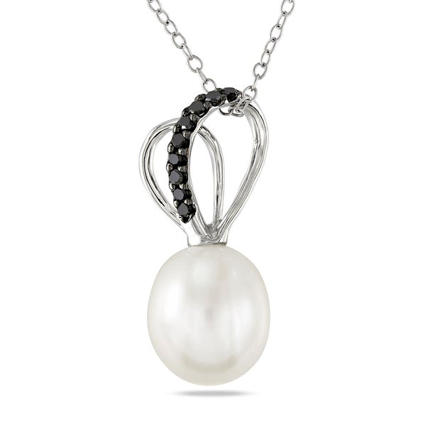 M by Miadora Sterling Silver Pearl and 1/10ct TDW Black Diamond Necklace