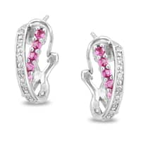 Miadora Sterling Silver Pink Sapphire and 1/10ct TDW Diamond Earrings (H-I, I3)