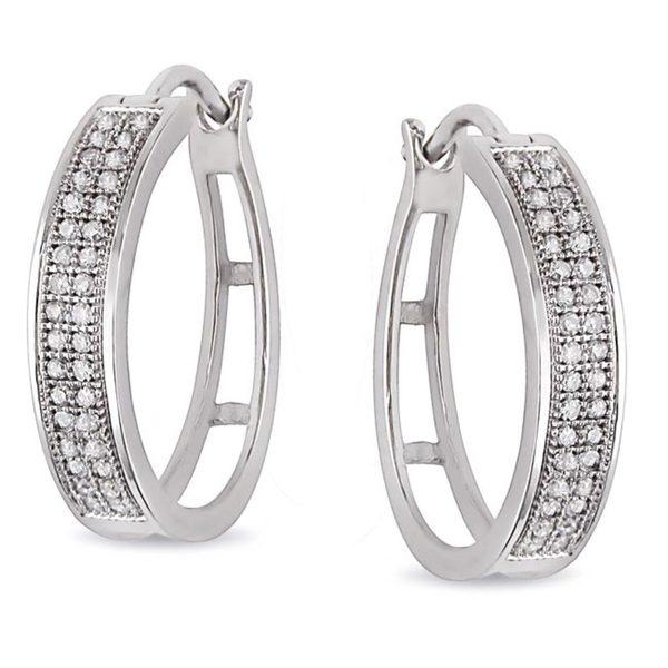 Miadora Sterling Silver 1/5ct TDW Diamond Hoop Earrings