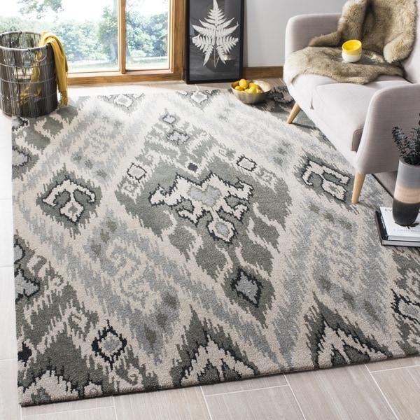 Safavieh Handmade Contemporary Marrakesh Grey Geometric New Zealand Wool Rug with Cotton-Canvas Back