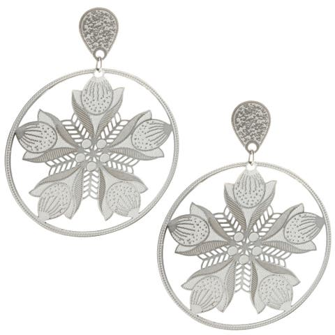 La Preciosa Stainless Steel Blooming Flowers Dangle Earrings