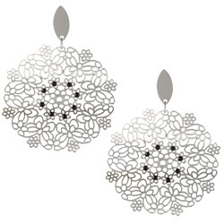 La Preciosa Stainless Steel Black Crystal Large Flower Dangle Earrings