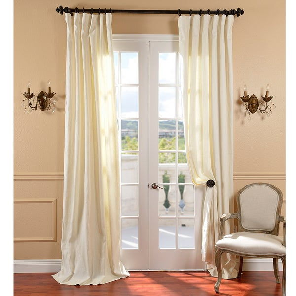 Exclusive Fabrics Cream Belgium Yarn Linen Curtain Panel