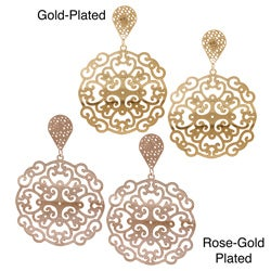 La Preciosa Stainless Steel Rose and Gold Plated Designed Large Dangle Earrings