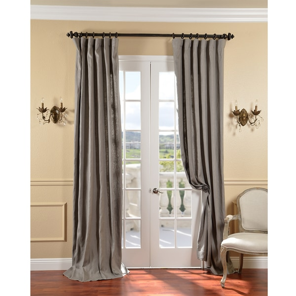Exclusive Fabrics Grey Belgium Yarn Linen Curtain Panel