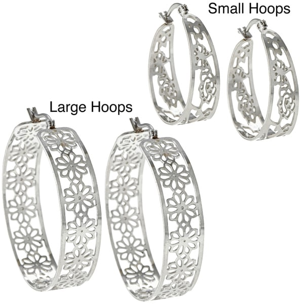 La Preciosa High-polish Stainless Steel Saddleback Hoop Earrings