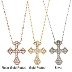 La Preciosa Sterling Silver Cubic Zirconia Cross Necklace